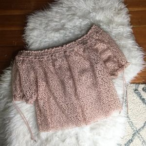 Zara Off the Shoulder Pink Crotchet Lace Blouse